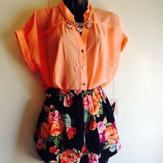 """Selling this """"Black floral summer shorts Size L ONLY"""" in my Poshmark closet! My username is: yolimua. #shopmycloset #poshmark #fashion #shopping #style #forsale #ambiance apparel #Dresses"""