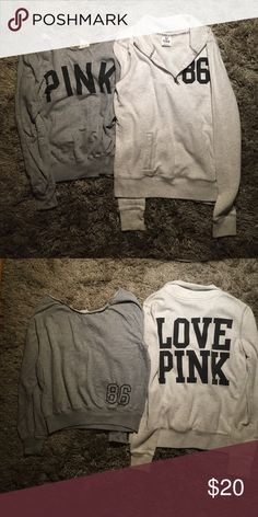 Victoria's Secret PINK Sweatshirts Set of two VS PINK sweatshirts (XS). Used condition. Sorry no trades. PINK Victoria's Secret Tops Sweatshirts & Hoodies
