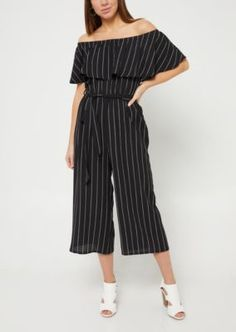 e533b6ed9e5 Black Striped Pattern Off The Shoulder Culottes Jumpsuit