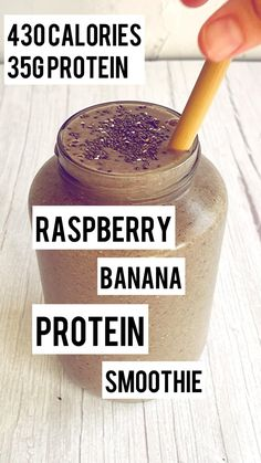 Banana Protein Smoothie, Cherry Smoothie, Protein Smoothie Recipes, Vegan Smoothies, Green Smoothie Recipes, Smoothie Drinks, Protein Foods, Fun Baking Recipes, Real Food Recipes