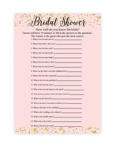 Make your own bridal shower games with our free printable bridal shower game templates! Download by following the directions below.