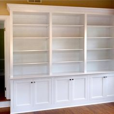 Home Office Built-In Bookcases- two depths between cabinets and bookshelves