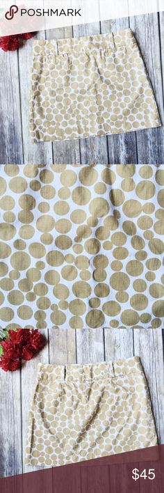"MOVING SALE 🚛 J. Crew Deco Dots Printed Skirt ✨ ★ Excellent condition!  ★ This beautiful tan deco dots skirt size 6 from J. Crew is a must have and perfect for summer and fall! ★ Cotton. ★ NO TRADES! ★ NO MODELING! ★ YES REASONABLE OFFERS! ★ Measurements: Waist laying flat: 15.5"" Length: 15.5"". J. Crew Skirts Mini"