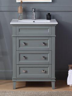 """24"""" Tennant Brand Felix Modern Gray Sink Bathroom Vanity - ZK-1810-Z24CK 24 Inch Vanity, 24 Inch Bathroom Vanity, 24 Vanity, Small Bathroom Vanities, Laundry In Bathroom, Grey Bathrooms, Simple Bathroom, Vanity Sink, Powder Room Vanity"""