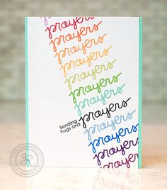 Note: One word stamped repeatedly in different colors to make the whole card front. I especially like that it's stamped at an angle. by Jennifer McGuire