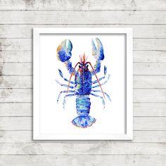Beautiful Lucky Blue Lobster Print