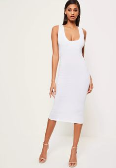 elevate your evening game wearing white in this beaut midi dress - featuring a square neckline, thick straps and figure hugging fit.