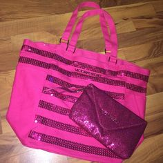 "Pink sequin beach bag & glitter wristlet Brand new pink sequin beach tote with pink glitter wristlet. Never used. Pockets on the side. The bag is 20""x14""x8"" big Victoria's Secret Bags Totes"