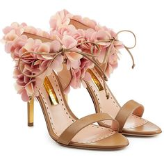 Rupert Sanderson Petal Embellished Leather Sandals (€595) ❤ liked on Polyvore featuring shoes, sandals, heels, beige, embellished shoes, beige sandals, leather footwear, beige leather sandals and real leather shoes