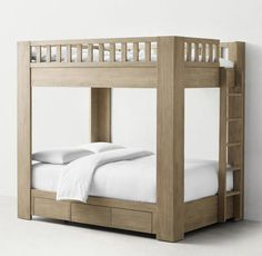 RH TEEN& Callum Storage Bunk Bed:A space-saving silhouette gets a modern makeover. With its platform-style bottom bunk and stout corner posts, our inspired bunk bed combines tried-and-true functionality with the best of modern design. Bunk Beds For Sale, Bunk Beds For Girls Room, Adult Bunk Beds, Cool Bunk Beds, Kid Beds, Bed Rooms, Kids Bedroom, Bedroom Ideas, Bunk Bed With Slide
