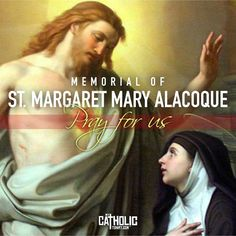 Today we celebrate the Memorial of St. Margaret Mary Alacoque, virgin. #FeastDay #StMargaretMaryAlacoque #mycatholictshirt A self-effacing nun in the Visitation Convent at Paray-le-Monial, France, was inspired by the Lord Jesus to establish the devotion of the Holy Hour. Her name was St. Margaret Mary Alacoque, and from the age of seven, when she received her first Holy Communion, she had always manifested an intense love of the Most Blessed Sacrament. Our Lord appeared to her often.