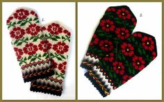 Hand knitted wool mittens Warm mittens Winter gloves Patterned mittens Red green floral ornament white black background (price for 1 pair) Knit Mittens, Wool Gloves, Knitted Gloves, Warmest Winter Gloves, Black And White Background, Christmas Knitting, Unisex, Hand Warmers, Breien
