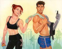 Natasha and Bucky, post-workout ;) 2017, commission for Sir Anka▶★\#natasha x bucky