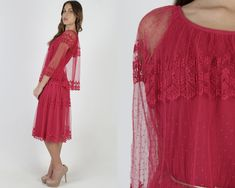 Vintage 70s Sheer Chiffon Dress / 1970s See Through Maroon Lace Dress / Sheer Scallop Floral Bell Sleeves / Simple Tiered Deco Mini Sheer Chiffon, Sheer Dress, Chiffon Dress, Maroon Lace Dress, 1970s Dresses, Vintage 70s, Floral Lace, Bell Sleeves, Deco