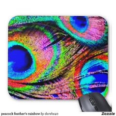 peacock feather's rainbow mouse pad