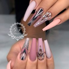 Attractive Acrylic Nail Art Designs Trends & Ideas 2019 (Coffin nails & Stiletto nails) - Page 8 of Attractive Acrylic Nail Art Designs Trends & Ideas 2019 (Coffin nails & Stiletto nails) Cute Acrylic Nails, Cute Nails, Pretty Nails, My Nails, Shellac Nails, Nail Swag, Nagellack Trends, Manicure E Pedicure, Stiletto Nails