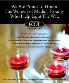 Join us, as Root Candles in partnership with The Medina County Women's Journal, celebrates the 2013 Women of Our Community and ATHENA Leadership Award nominees.
