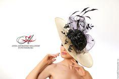 """Купить Эксклюзивная шляпа для скачек """"Royal"""" - чёрно-белый, однотонный, шляпа, вечерняя шляпа"""