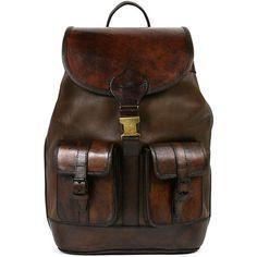 Beara Beara Santa Cruz Leather Backpack - Brown ($278) ❤ liked on Polyvore featuring bags, backpacks, purses, vintage backpacks, brown leather rucksack, leather laptop bag, vintage leather backpack and laptop rucksack