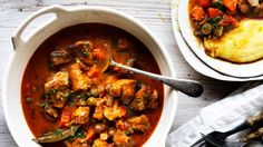 Ragout of pork, sage and olives