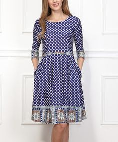 Another great find on #zulily! Navy & White Polka Dot Fit & Flare Dress #zulilyfinds