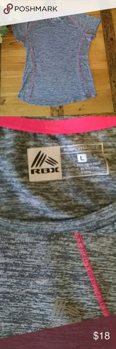 RBX dri fit workout tee L Heathered grey with hot pink stitching short sleeve dri fit workout top. In very gently used condition, comes from a smoke free, pet free home. RBX Tops Tees - Short Sleeve