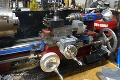 Various DROs fitted to mini lathe. Also note the carriage power fed in addition to the half nut feed.