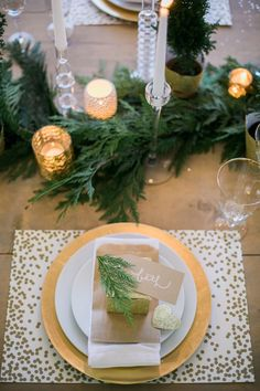 Holiday Wine + Craft Party from One Hope Wine + J Wiley Photography, pine, taper candles, crystal, gold, tealights, favors, confetti placema...