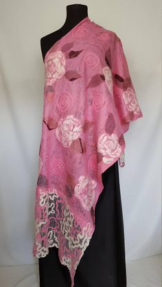 Nuno felted long pink shawl with white roses original ooak
