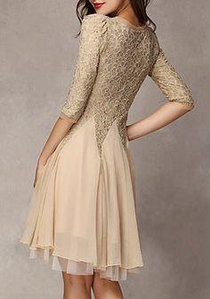Khaki Patchwork Ruffle 3/4 Sleeve Knee Length Lace Dress - Mini Dresses - Dresses