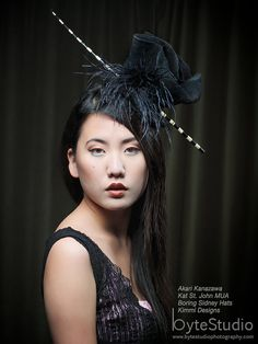 Hat Wool Hat Black Fascinator Feather Fascinator by BoringSidney, $145.00