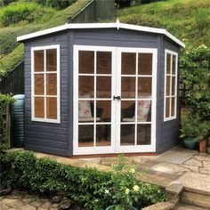 x Tongue and Groove Corner Summerhouse With Free Delivery Corner Summer House, Summer House Garden, Home And Garden, Summer Houses, Types Of Cladding, Cladding Design, Garden Sheds Uk, Tongue And Groove Walls, Corner Sheds