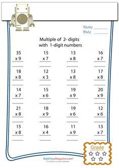 Multiplication Worksheet – 2 Digit times 1 Digit #1 #multiplication #success #favorite #worksheet