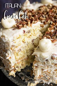 Italian cream cake is a showstopper full of pecans, coconut and a sweet cream cheese frosting. #italiancreamcake #southerncake #coconutcake