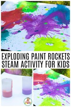 Make your very own exploding art this summer with the super fun STEM activity: exploding paint rockets! Make your exploding paint film canister rockets fly far into the air when you try this fun summer STEM activity. Exploding STEAM projects have never be Steam Activities, Camping Activities, Indoor Activities, Summer Activities, Family Activities, Science Activities, Camping Ideas, Science Experiments Kids, Science For Kids