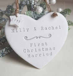Handmade festive decoration gift for newlyweds Festival Decorations, Tree Decorations, First Christmas Married, Personalised Christmas Decorations, Newlywed Gifts, Newlyweds, Thoughtful Gifts, Festive, Etsy Seller