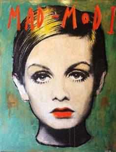 """"""" Mad*Mod Twiggy, 2014""""  by Corinne Dalle Ore - Mixed media on canvas 146 x 114 cm #Twiggy"""
