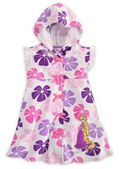 6055e89becaef Amazon.com: Disney Store Girls Floral Princess Rapunzel Hooded Swimsuit  Cover Up (Size Small 5/6): Clothing