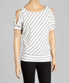 Look at this #zulilyfind! White & Black Double-Stripe Cutout Top by J-MODE #zulilyfinds