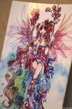 Rainbow Fairy anime manga kawaii angel lolita art print by schin, $14.00