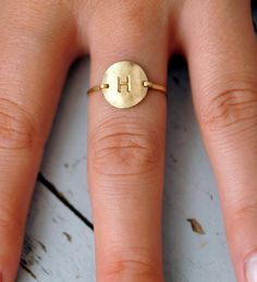 Circle disk letter initial ring. 14kt gold filled  by paulabdesign, $38.00