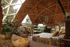 Photographic Print: Geodesic Dome House Designed by Cathedralite Domes for Dr Charles Bingham, Fresno, CA, 1972 by John Dominis : 12x8in #interiorarchitecture Interior Architecture, Interior Exterior, Interior Design, Yurts, Geodesic Dome Homes, Geodesic Dome Greenhouse, Fresno California, Earthship Home, Waterfall House
