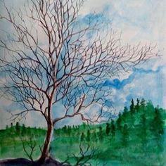 Ada pohon kering di musim hujan heu heu - di Dago arah Punclut Bandung #art #drawing #painting #watercolor #scetch #dago #punclut #bandung Waves, Watercolor, Drawings, Sketch, Painting, Outdoor, Instagram, Hay, Pen And Wash