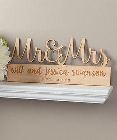 Look at this #zulilyfind! 'Mr. & Mrs.' Personalized Wood Wall Sign #zulilyfinds