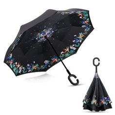 Upside Down Umbrellas with C-Shaped Handle for Women and Men Double Layer Inside Out Folding Umbrella Reverse Inverted Windproof Golden Doodle Floral Dog Umbrella