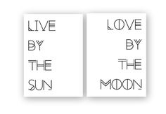 Live by the Sun / Love by the Moon - Set Of Two Printable posters - bohemian style Typography printable art - Double poster This set of two prints is an INSTANT DIGITAL DOWNLOAD, and is downloadable directly upon purchase. This pair of typography prints is High Resolution and can be printed as a large scale poster : as big as 24incx36inc with perfect quality. WHAT YOU RECEIVE / Upon purchase, you will immediately receive an invitation to click on the link to download the two prints. The ...