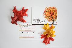 Adoring Autumn Wedding Invitation! This ivory colored background is trimmed with brown and topped with a stunning fall tree graphic. This listing includes: 5x7 Invitation 3.5 x 5 RSVP Postcard A7 Envelope  Choices: Quantity (increments of 25) Invitation Wording: you may submit your own invitation wording  Process: Select a quantity, add item to your cart, proceed to checkout. In the notes area of your order send your invitation AND rsvp wording.  Your custom invitation will then be put…