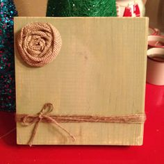 Sage Green Rustic Wood Photo Frame with Twine Holder & Burlap Flower (Sage Green) on Etsy, $15.00