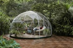 Garden Igloo - Stylish Conservatory, Play Area for Children, Greenhouse or Gazebo. The Garden Igloo is a transparent canopy for your garden that allows you to cherish the scenery all while being shielded under a geodesic dome. Portable Greenhouse, Greenhouse Gardening, Greenhouse Ideas, Cheap Greenhouse, Cheap Pergola, Hydroponic Gardening, Outdoor Spaces, Outdoor Living, Outdoor Decor
