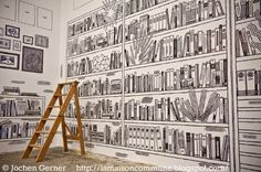 """Bibliothèque / LIBRARY mural art (detail) © Jochen Gerner (Artist. France). Trompe L'oeil. ALSTOM's """"Common home"""" ART EXHIBITION held September, 2011. Various French artists/designers each chose a room in the House to illustrate. Their black & white wall designs illustrate the purpose of each room. At least one or two real elements were included. photo © Mathieu Rousseau, Photographer ... Caption & credits required by copyright law."""